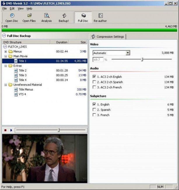 Программа DVDShrink