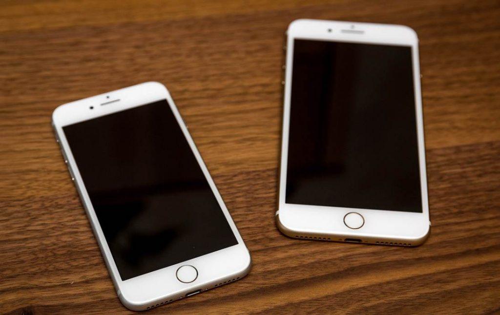 Сравнительное фото iPhone 7 и 7 Plus