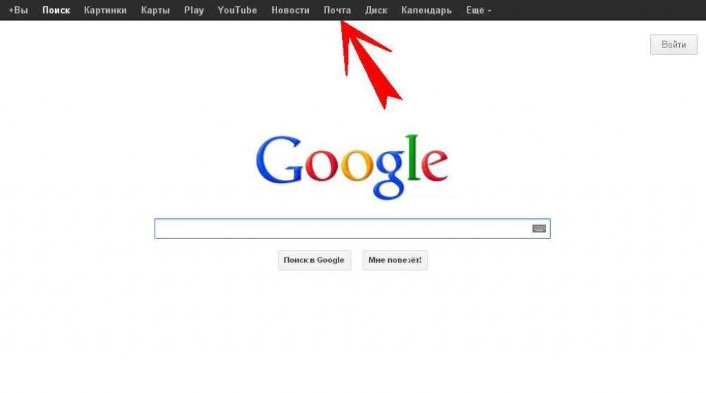 "Кнопка ""Почта"" в системе Гугл"