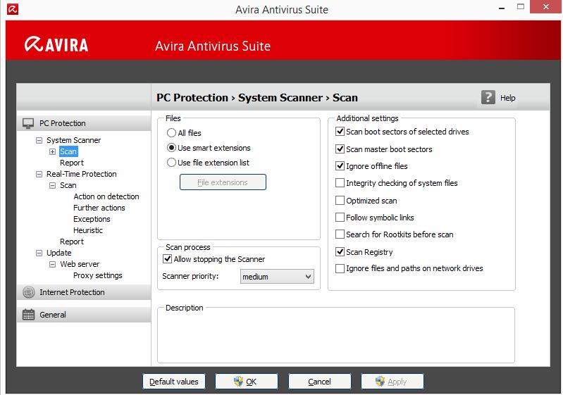 Пример подготовки к сканированию Avira