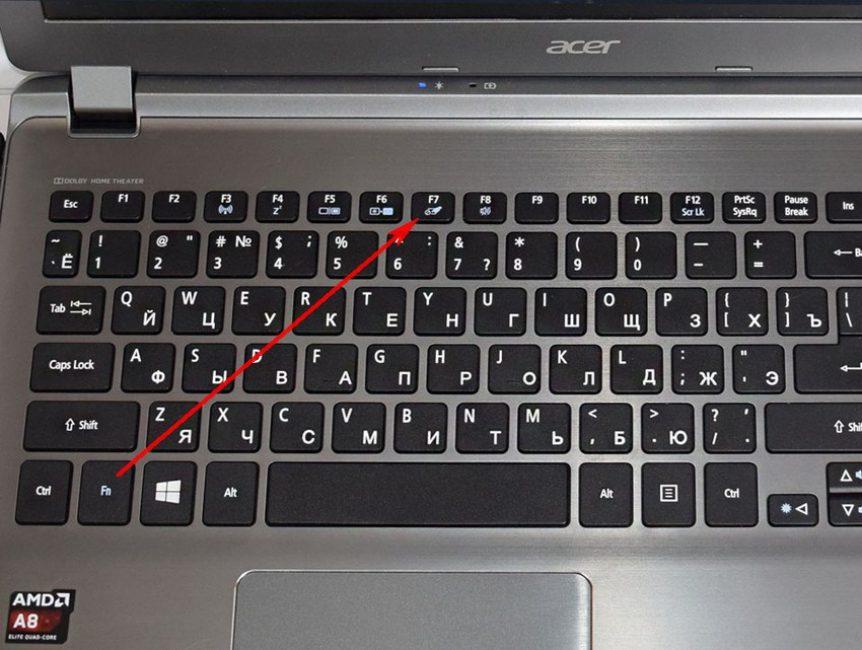 Зажимаем комбинацию клавиш Fn с одной из клавиш F1-F12