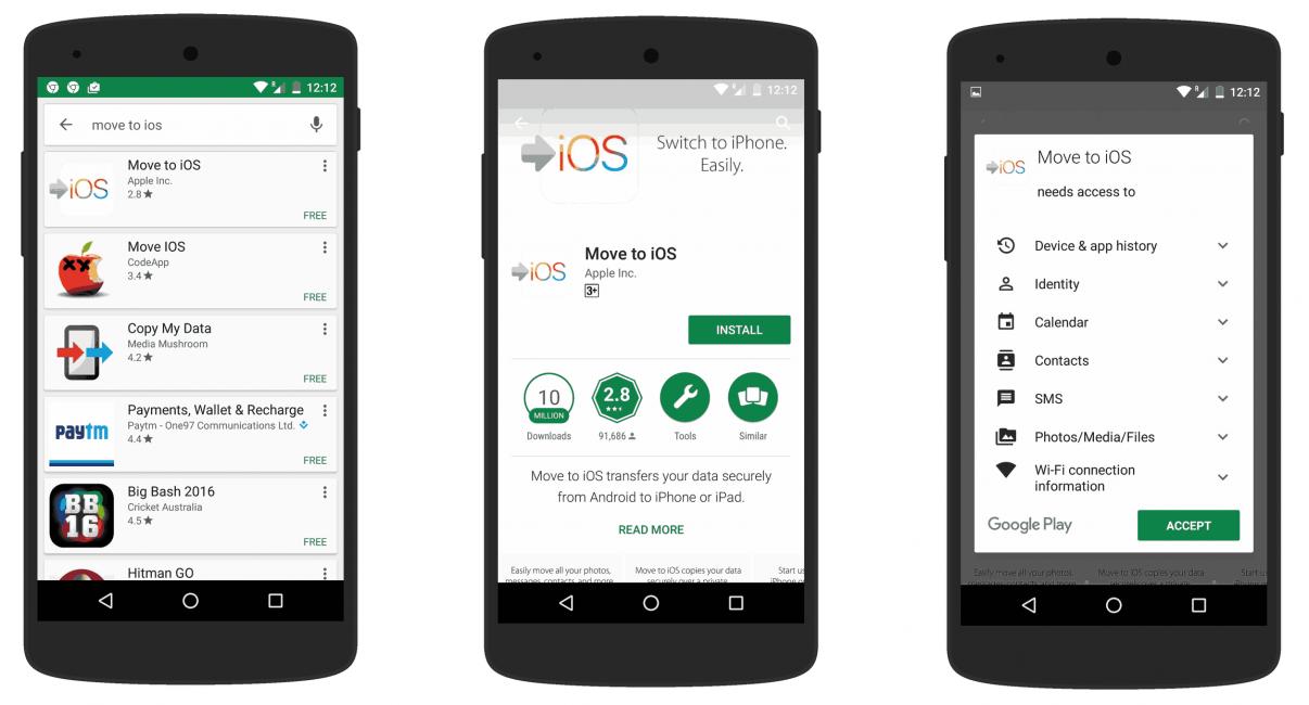 Загрузка приложения Move to iOS
