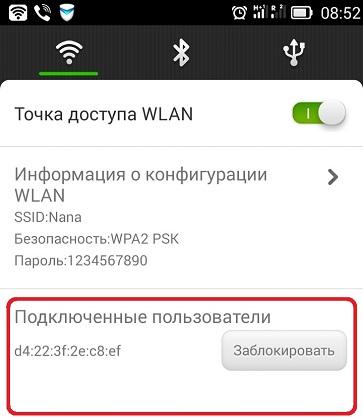 Подключенные пользователи к Wi-fi