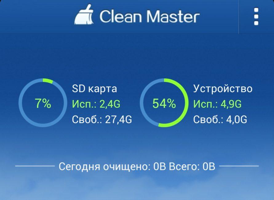 Данные памяти в Clean Master