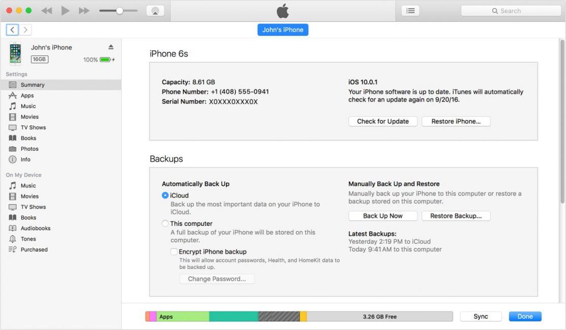 Данные телефона в iTunes