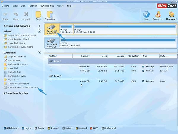 Местонахождение положения сonnect MBR Disk to GPT Disk