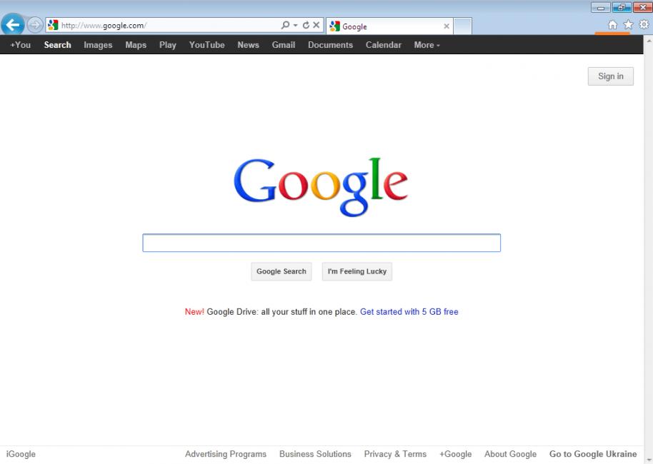 Иллюстрация Google в IE
