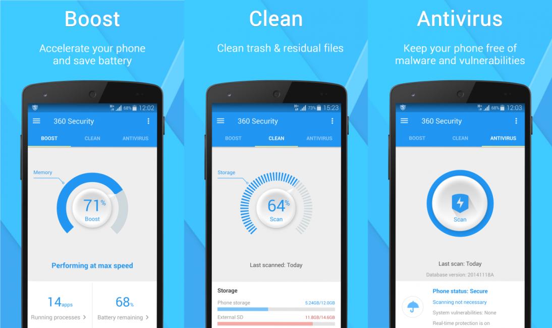 Увеличение памяти, очистка и сканирование в 360 Security