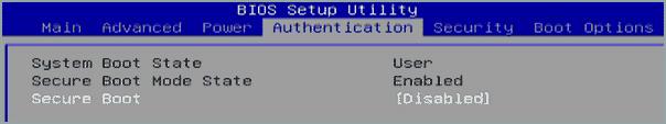 Переключение аутентификации Secure Boot в Acer на состояние disabled