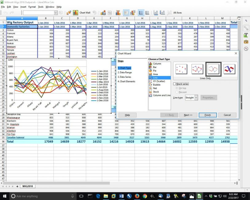 Пример таблицы и векторов