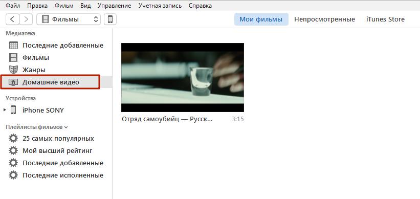 Загруженное видео с ютуба находится в подразделе «Домашнее видео»