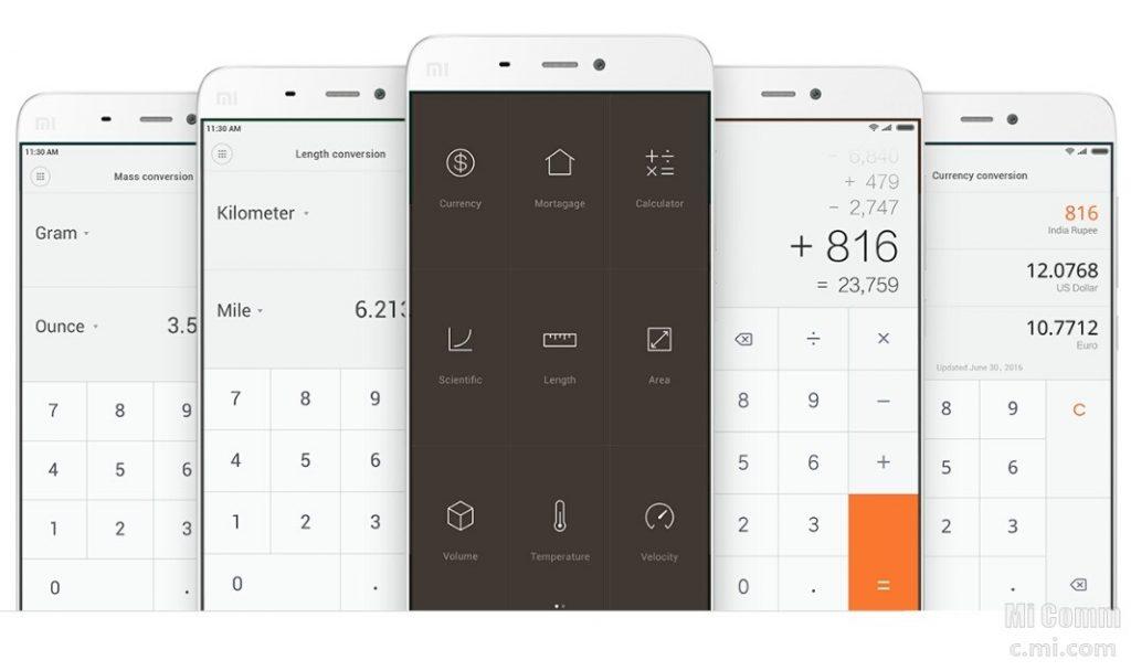 Калькулятор в MIUI 8