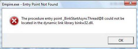 Возникновение ошибки binkw32.dll