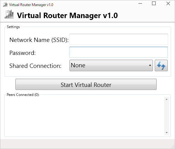 Интерфейс программы Virtual Router