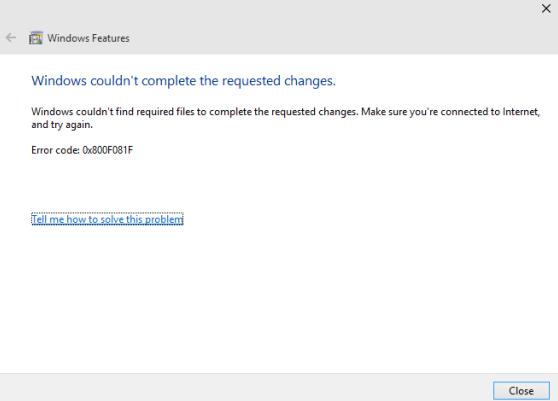 0*0800f081f ошибка net framework 3.5 для windows 10