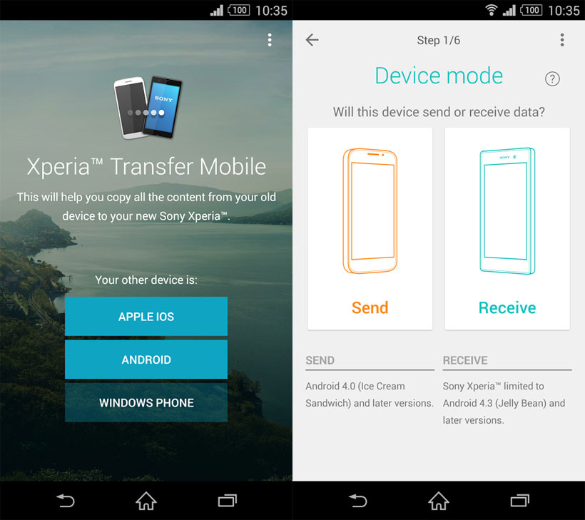 Программа Xperia Transfer Mobile