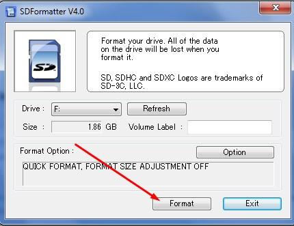 Запуск процесса форматирования
