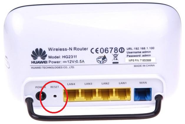 Рис.14 – Кнопка «Reset» на роутере модели Huawei