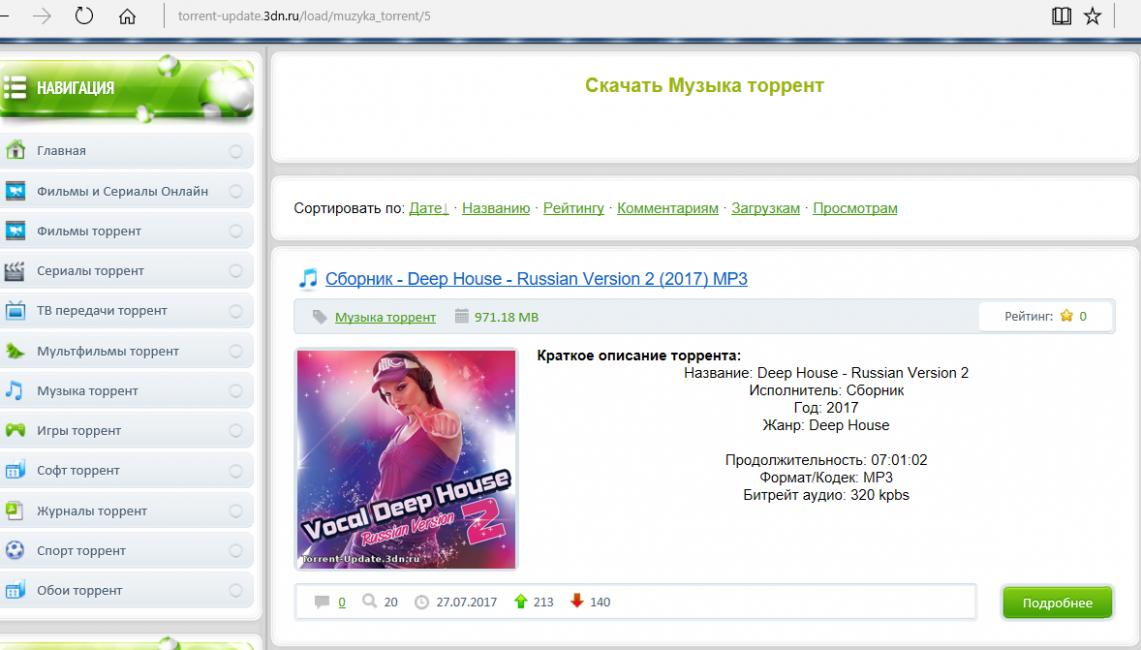 Титульная музыкальная страница на сайте торрент-трекера
