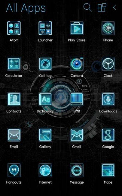 Меню смартфона с оболочкой Atom Store