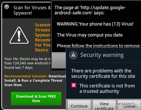 Рисунок 4 – Пример возможных вирусных оповещений в форме текста