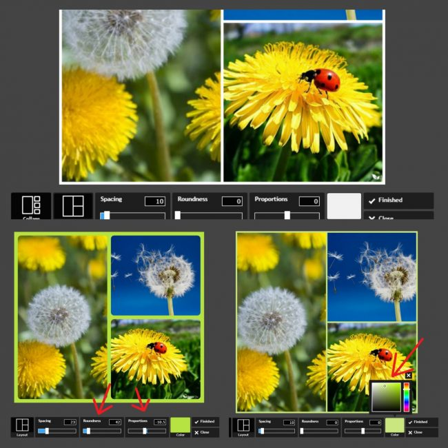 Создание коллажа в PhotoshopOnline: изменение расстояния меду фото и выбор цвета фона
