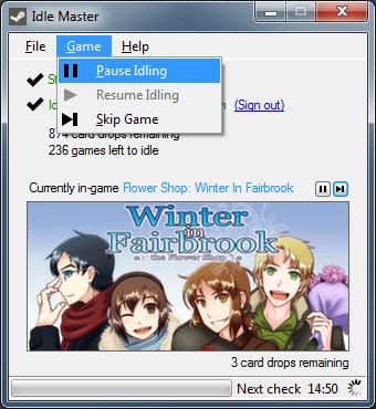Скрин работы приложения Idle Master