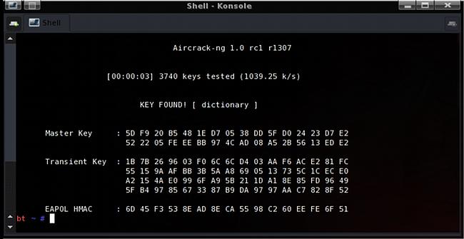 Программа Aircrack-ng выполняет поиск пароля