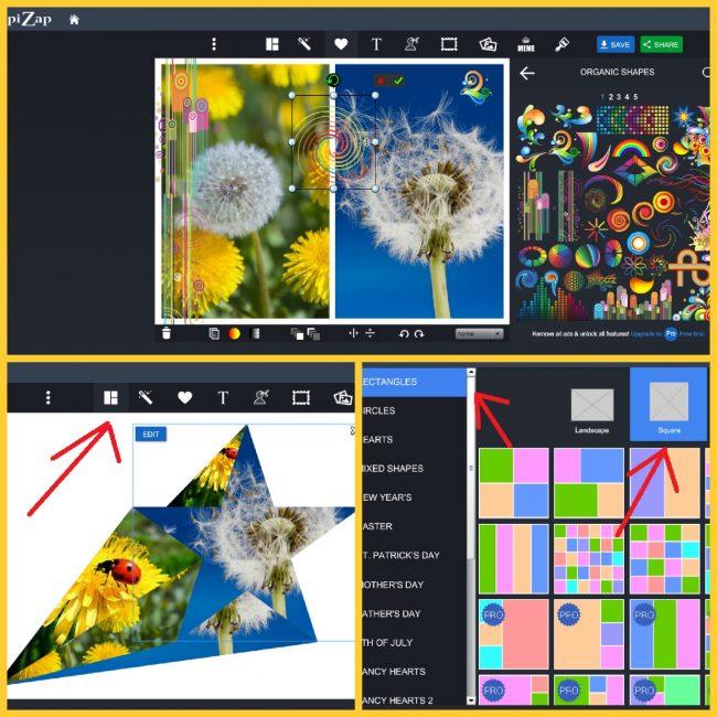 оздание картинки в PiZap: объемная звездочка, выбор шаблона