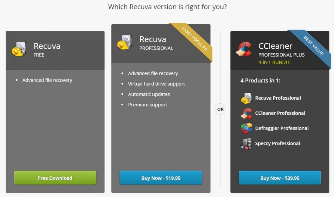 Выбор бесплатной версии Recuva
