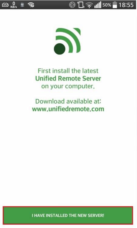 Начать процесс запуска расширения Unified Remote на мобильном устройстве
