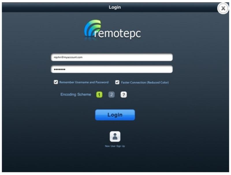 Окно авторизации при запуске программы RemotePC