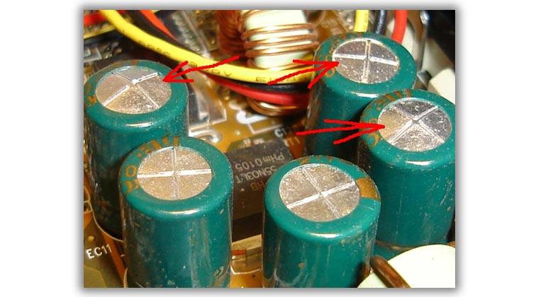 Вздутые электролитические конденсаторы блока питания