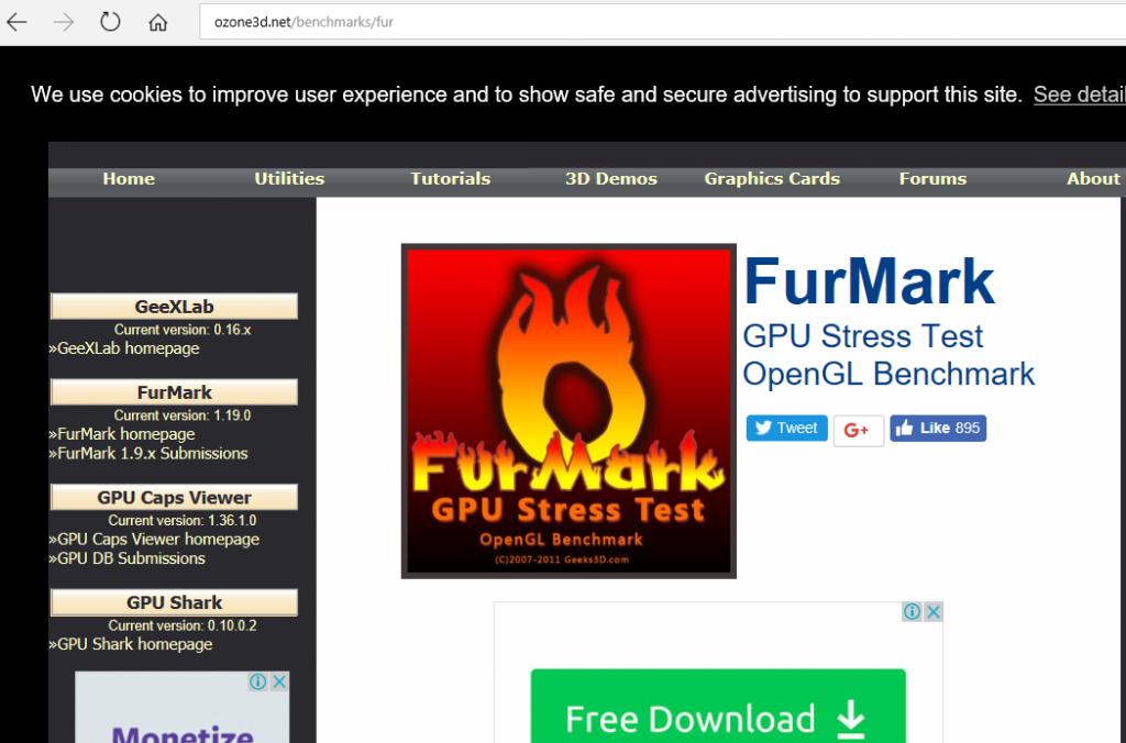 Скрин страницы для скачивания программы Fur Mark