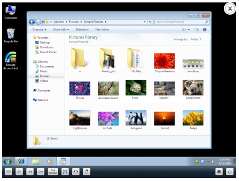 Окно отображения при удачном соединении через утилиту RemotePC