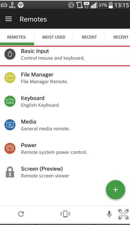 Активируя функцию «Basic Input», смартфон можно использовать в качестве клавиатуры