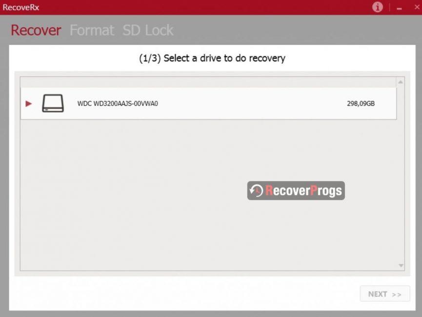 Выбор диска в RecoveRX