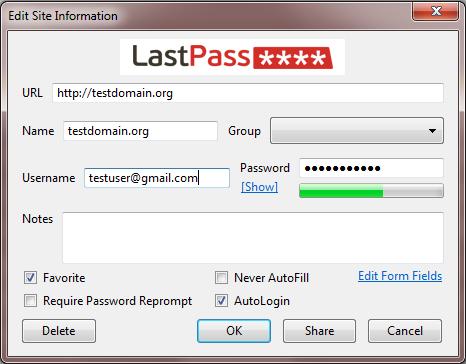 Вот так выглядит менеджер паролей