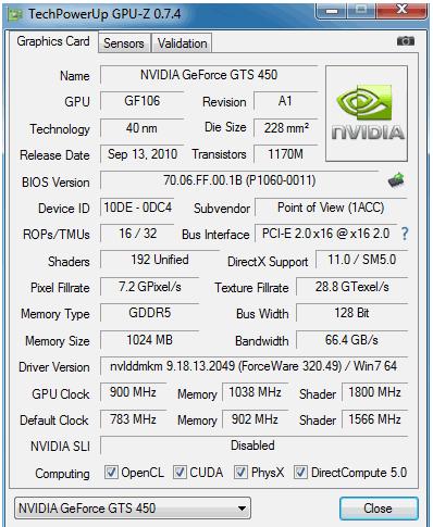 Результаты тестирования разогнавшейся GeForce GTS 450