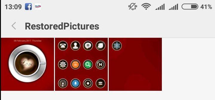 «restored pictures» - папка с сохраненными восстановленными изображениями в приложении «восстановить все мои файлы»
