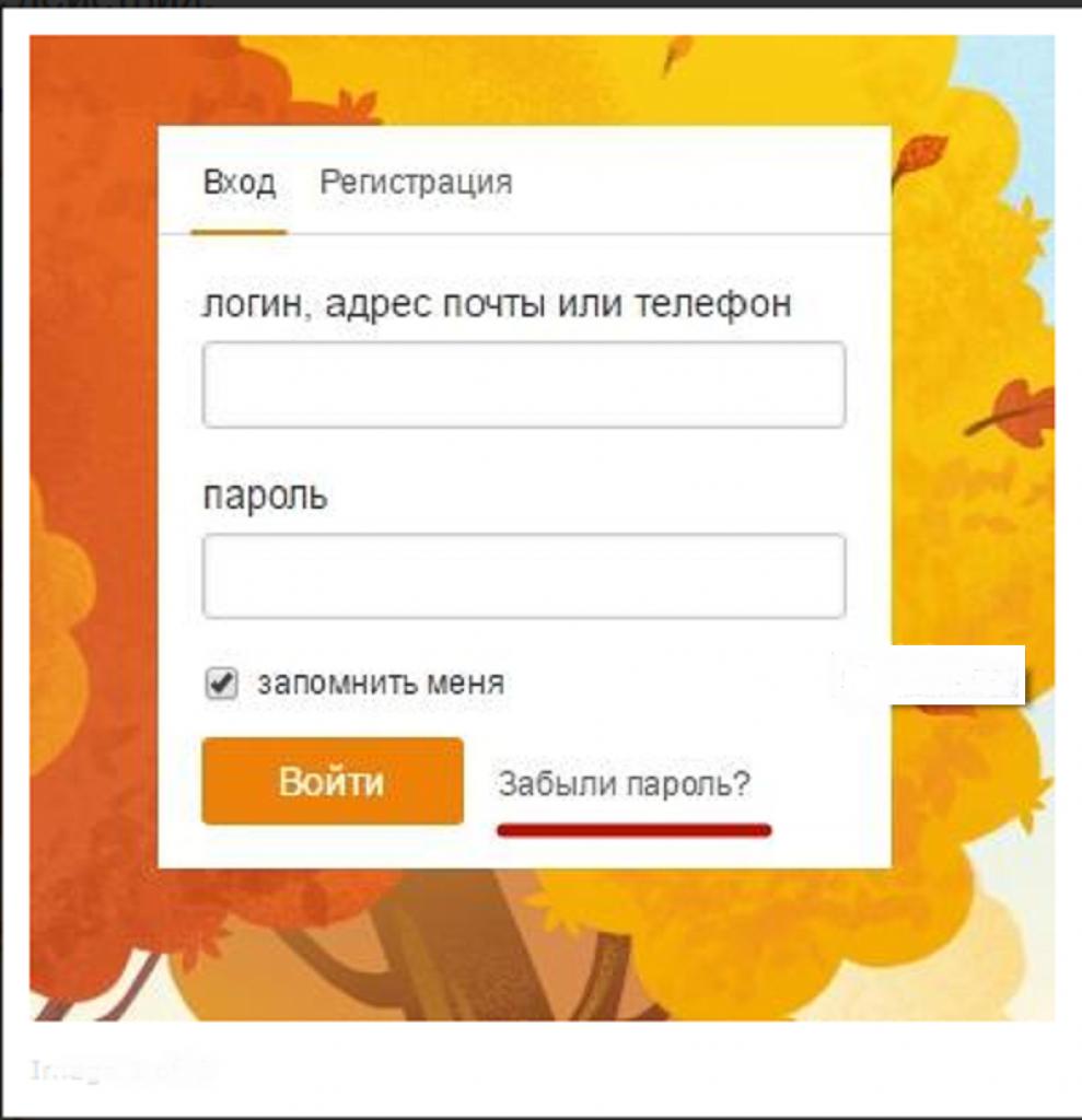Выбираем ссылку «Забыли пароль?»