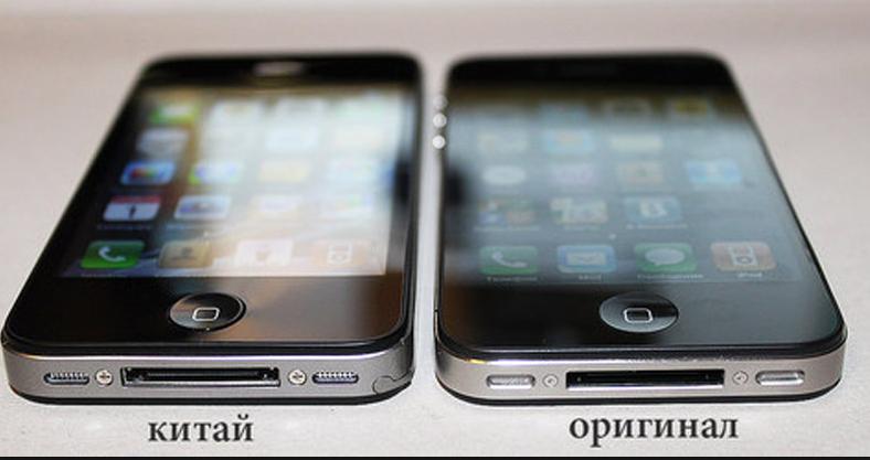 Сравнение оригинальной модели и подделки в телефоне Айфон 4S.