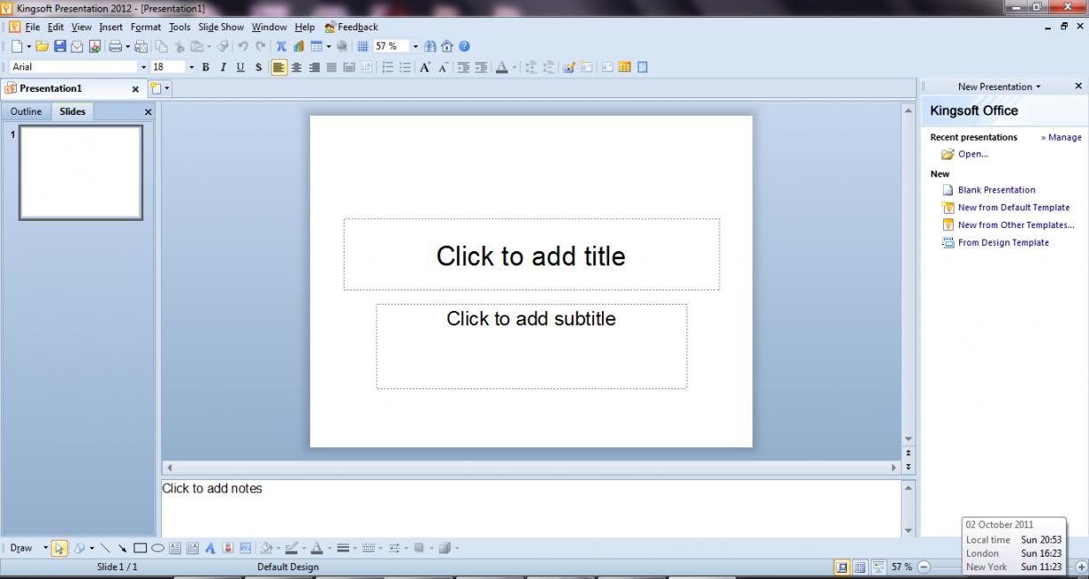 Окно программы Kingsoft Presentation Free