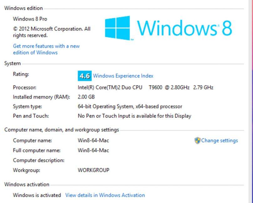 Отображение активации Windows 8