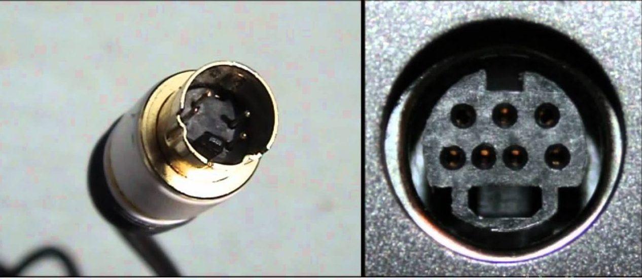Внешний вид S-Video гнезда и штекера