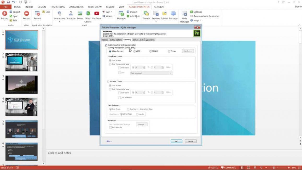 Окно программы Adobe Presenter