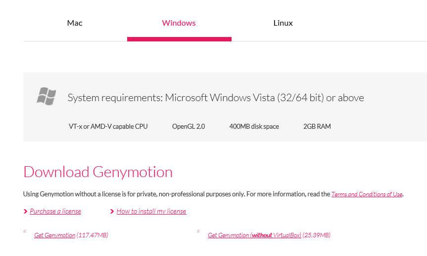 Выбираем нужный нам пункт Get Genymotion(without VirtualBox) илиGet Genymotion.