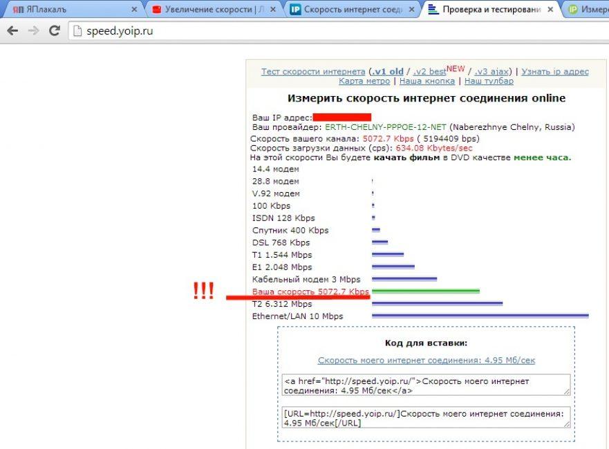 Проверить скорость интернета с помощью сервиса Speed.yoip.ru