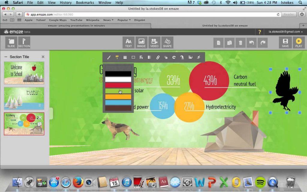 Окно программы Emaze