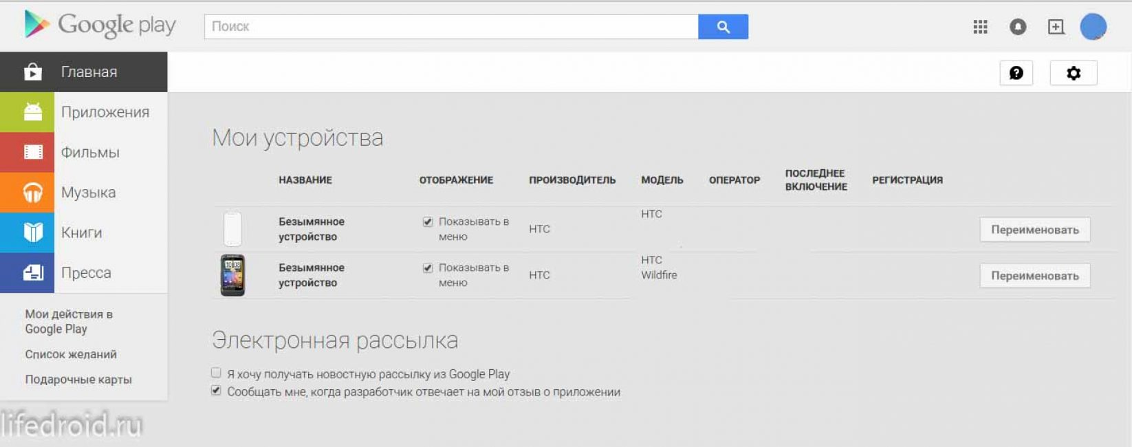 Устройства в Гугл Плей